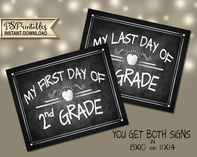 2nd Grade Photo Prop Signs | PRINTABLE Signs, 2nd Grade School Sign, 2nd Grade Milestone Chalkboard Prop, First Day of School, Last Day Sign