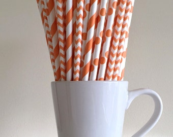 Orange Paper Straws Orange Striped, Chevron, and Polka Dot Party Supplies Party Decor Bar Cart Cake Pop Sticks  Party Graduation