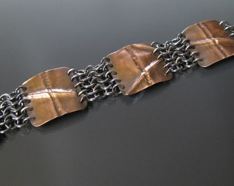 Fold Form copper and sterling silver European weave chainmaille bracelet