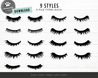 Eyelashes SVG Bundle | Lashes SVG | Eyes SVG Pack Cut File | Eyelashes Clipart | Dxf Files for Cricut Silhouette Fashion Gorgeous Girl Woman