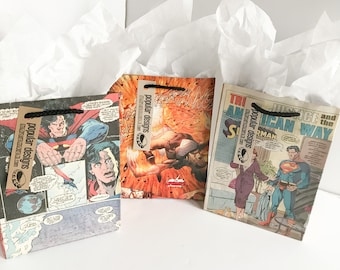 3 Superman Comic gift bags / Recycled comic book/ handmade superhero gift bag / recycled comic gift bag