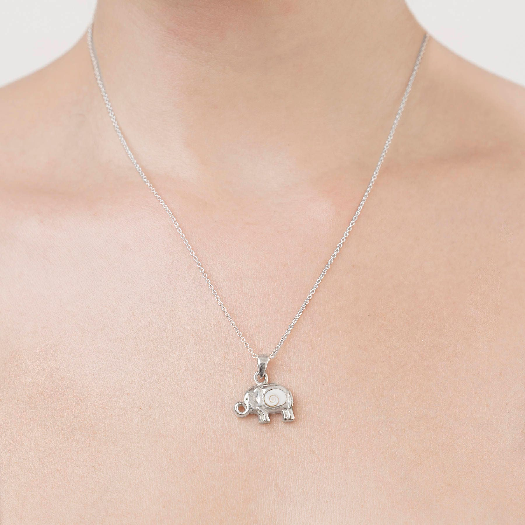 Silver elephant necklace elephant charm necklace tiny zoom biocorpaavc