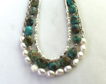 3 Strand Turquoise, Sterling, Pearl Triple Strand Focal Necklace...