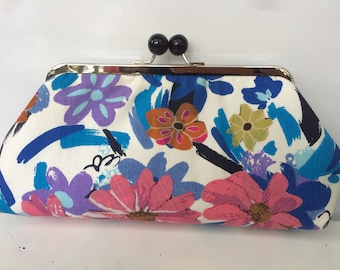 Handmade vintage fabric flower clutch with metal frame