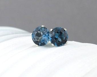 London Blue Topaz Earrings Small Silver Earrings Gemstone Post Earrings Silver Stud Earrings Bohemian Jewelry Topaz Stud Earrings
