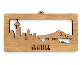 Seattle Skyline Ornament - from Timber Green Woods. Sustainable Harvest Wood. Made in the USA!