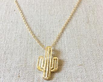 Cactus Necklace, Silver Cactus Necklace, Gold Cactus Necklace, Cactus Charm, Cactus Jewelry, Tree Necklace, Silver Necklace,Delicate Necklac