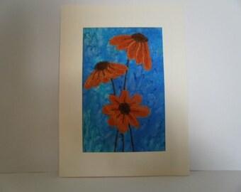 Orange Flowers Textile Art
