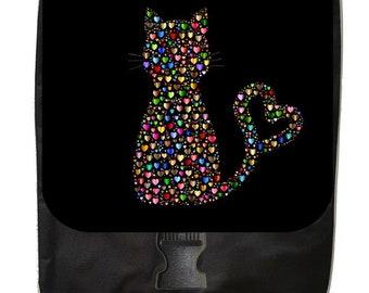 Hearts Kitten Silhouette - Large Black School Backpack