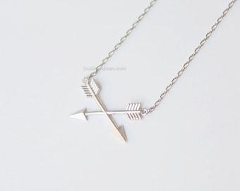 Silver Cross Arrow Necklace, double arrow necklace,  arrow necklace, simple necklace, dainty necklace, bridesmaid, wedding gift