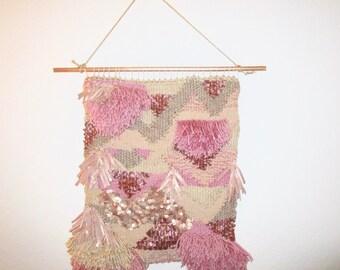 Rose Gold Woven Wall Hanging - Modern Weaving - Abstract Wall Art