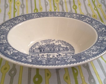 Blue and white dish with charming winter scene!