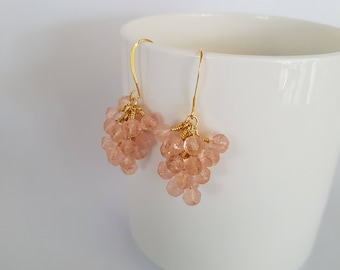 Light pink, glass beads, wire wrapped, gold plated cluster earrings.