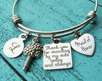 maid of honor gift MOH bracelet, bridesmaid gift, personalized wedding gift, maid of honor bracelet, Maid of Honor proposal gift thank you
