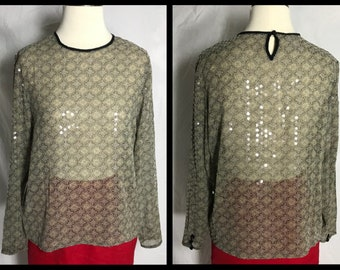 Jones New York Sheer Silk Blouse with Contrast Neck Binding, Medallion Print and Scattered Sequin Trim - Size 12