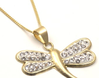 9ct Gold Dragon fly Pendant