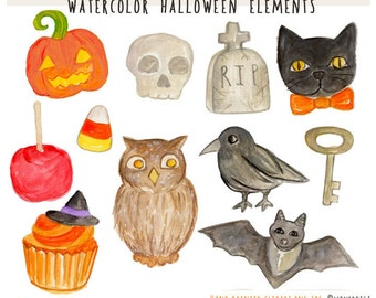Watercolor Clipart - Halloween Clipart -  Halloween Elements Icons Watercolor Illustration