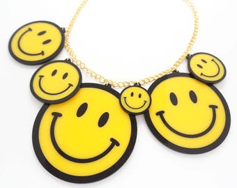 Smiley Face Necklace. Raver Smile Acrylic Statement Necklace. Rave Culture Smileys Necklace. Festival Necklace. Drum and Bass Jewellery