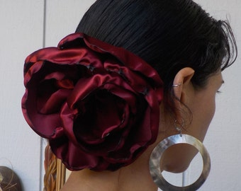 Red Flower GIANT Hair clip - Belly dance hair accessory - Flamenco flower - Tango Flower - Dress-up, casual - day of the dead - Freeda