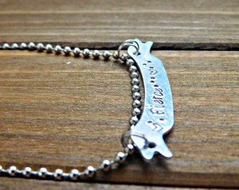 Fierce Necklace Custom Name Necklace Engraved Necklace Bar Necklace Banner Necklace Engraved Personalized Necklace Silver Necklace Birthday