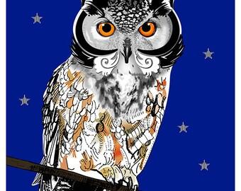 L'illustration A5 hibou imprimée sur papier Fine Art / Owl illustration print on Fine Art paper