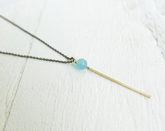 Skinny Brass Bar Drop with Aqua Accent Bead Necklace || Layering Necklaces || Canadian Seller