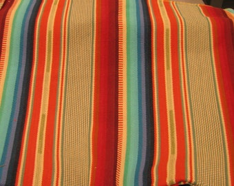 """Laura Kiran Southwest Stripes Sundance Turquoise heavy twill like decor fabric sent as 18 or 26"""" sq pillow size cuts, or sent as sewn cover"""