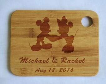 Personalized Mickey & Minnie Disney Silhouette-Cutting Chopping Board-Custom Engraved-for Wedding Anniversary or Housewarming Gift - CB025