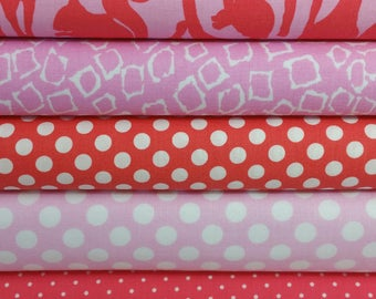 Coral Animal Silhouette Bundle From Michael Miller - 5 Fabrics