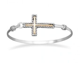 Two Tone Religious Sideways CROSS Fashion Bangle Bracelet