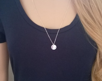 Hammered sterling silver necklace; silver disc necklace; simple silver necklace; long silver disc necklace; silver circle necklace