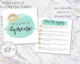 Lipsense Application card design MINT+GOLD - distributor - branding - packaging- Digital Download - Digital Download