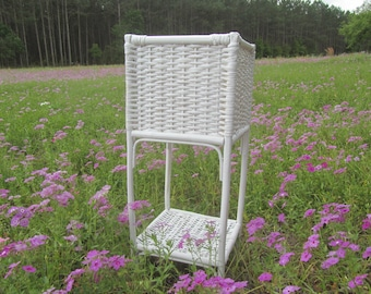Plant Stand, Vintage wicker plant stand, outdoor furniture, White, Shabby Chic Furniture