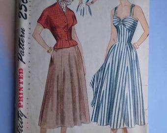 Vintage 40s Sundress and Jacket Pattern 32 26 35