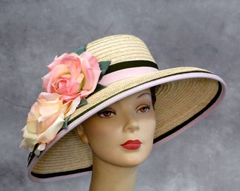 Straw Hat Wide Brim Vintage KOKIN Wicker with Large Pink Yellow Silk Millinery Roses