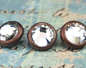 10 cristal cheveux Snaps - rond cuivre jante édition--faite avec des strass Swarovski Element