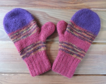 Felted Wool Mittens, hand knit