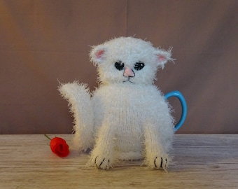 Knitted Tea Cosy Cozy Cute Fluffy White Kitten, Shabby Chic