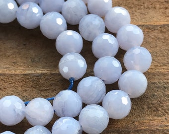 Blue Lace Agate beads faceted rounds 8mm 4 beads natural gemstones