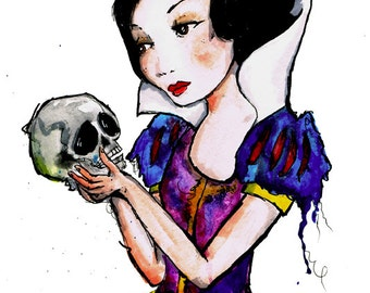 Snow White watercolor print, 8.5x11 inch print art painting
