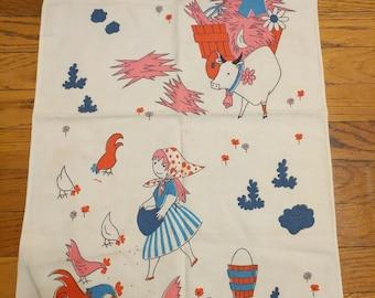 Vintage Tea Towel Boy and Girl Farm Scene