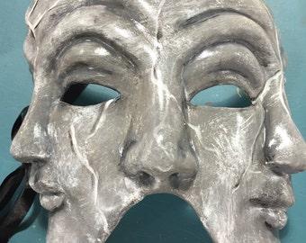 Tri-face Paper Mache Venetian Mask