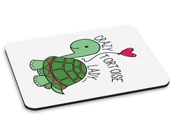 Crazy Tortoise Lady PC Computer Mouse Mat Pad