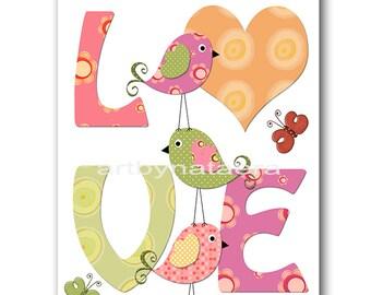 Baby Shower Gift Baby Girl Nursery Art Print Childrens Wall Art Baby Room Decor Kids Print Nursery Decor Girl Baby Wall Art Love Birds