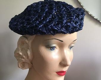 Vintage 1950's Deadstock Navy Blue Woven Raffia Beret Style Hat
