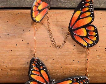 Fiery Monarch BUTTERFLY wings beutifull leather baded NECKLACE
