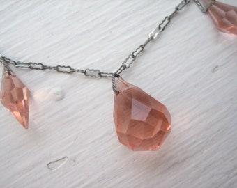 Vintage Art Deco pink necklace, pink glass necklace, Art Deco pink glass