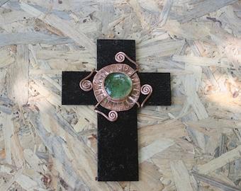Metal Cross, Home Decor, Green glass Cross, Wall Hanging Cross, Metal Crosses, Copper Cross