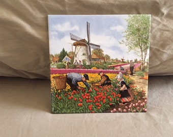 Vintage Holland Scene Art Tile