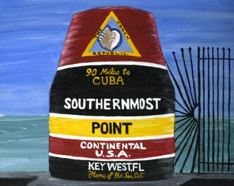 Southernmost Point Print - Key West, FL  Southernmost Buoy in the US